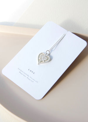 Boho Love Heart Pendant Necklace in Silver
