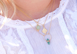 Layering Necklaces in Gold and green