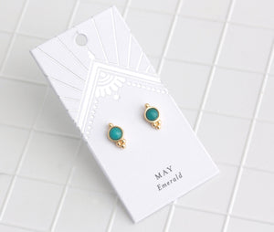 Birthstone Studs May/Emerald