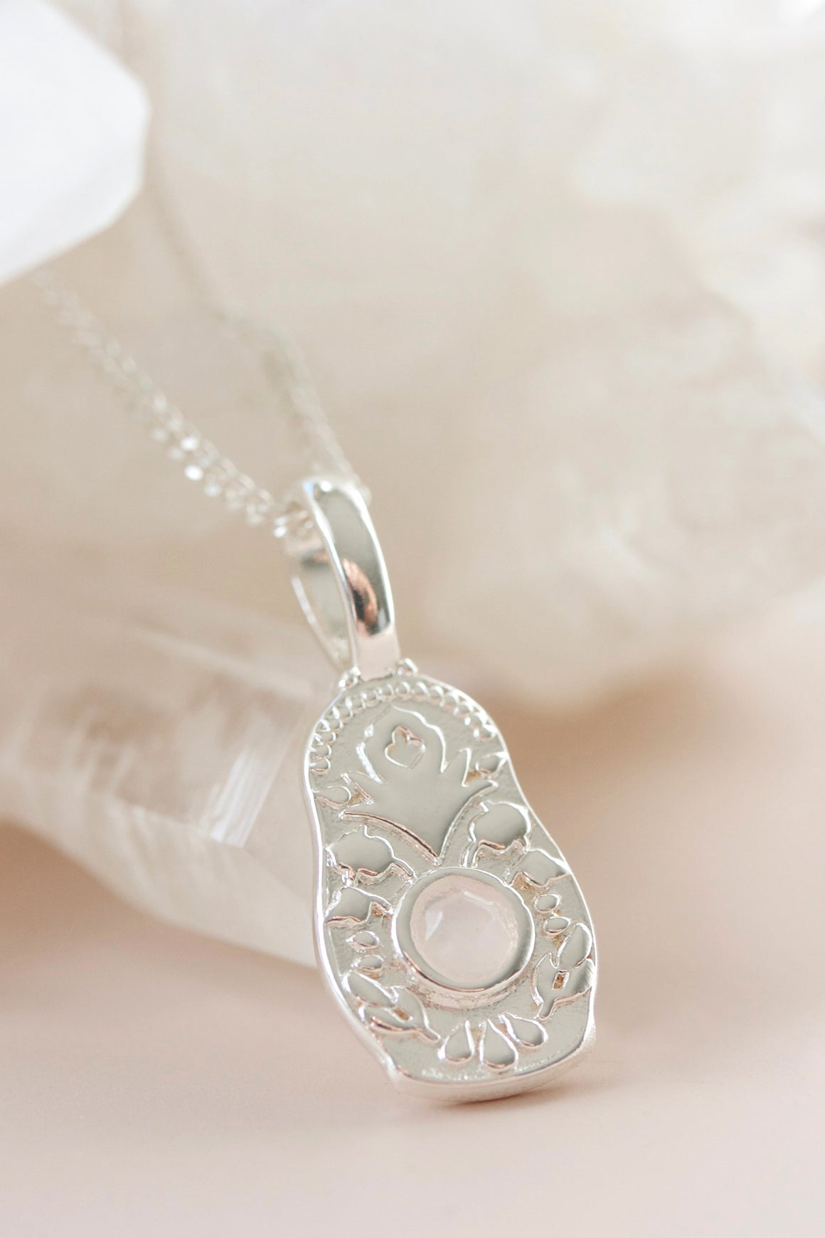 silver babushka doll necklace