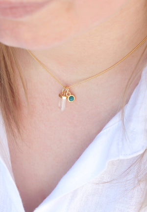 birthstone necklace green emerald
