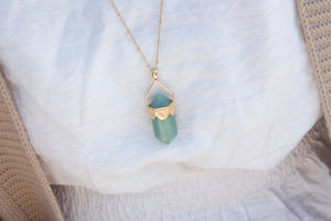 Aventurine Pendulum Necklace - Gold