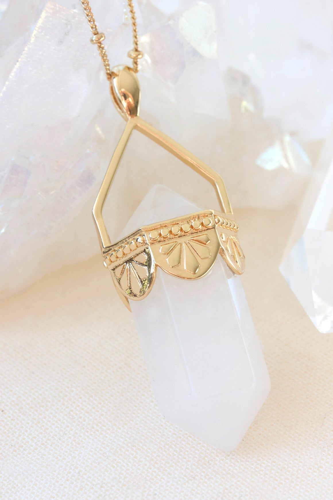 Clear Quartz Pendulum Necklace - Gold