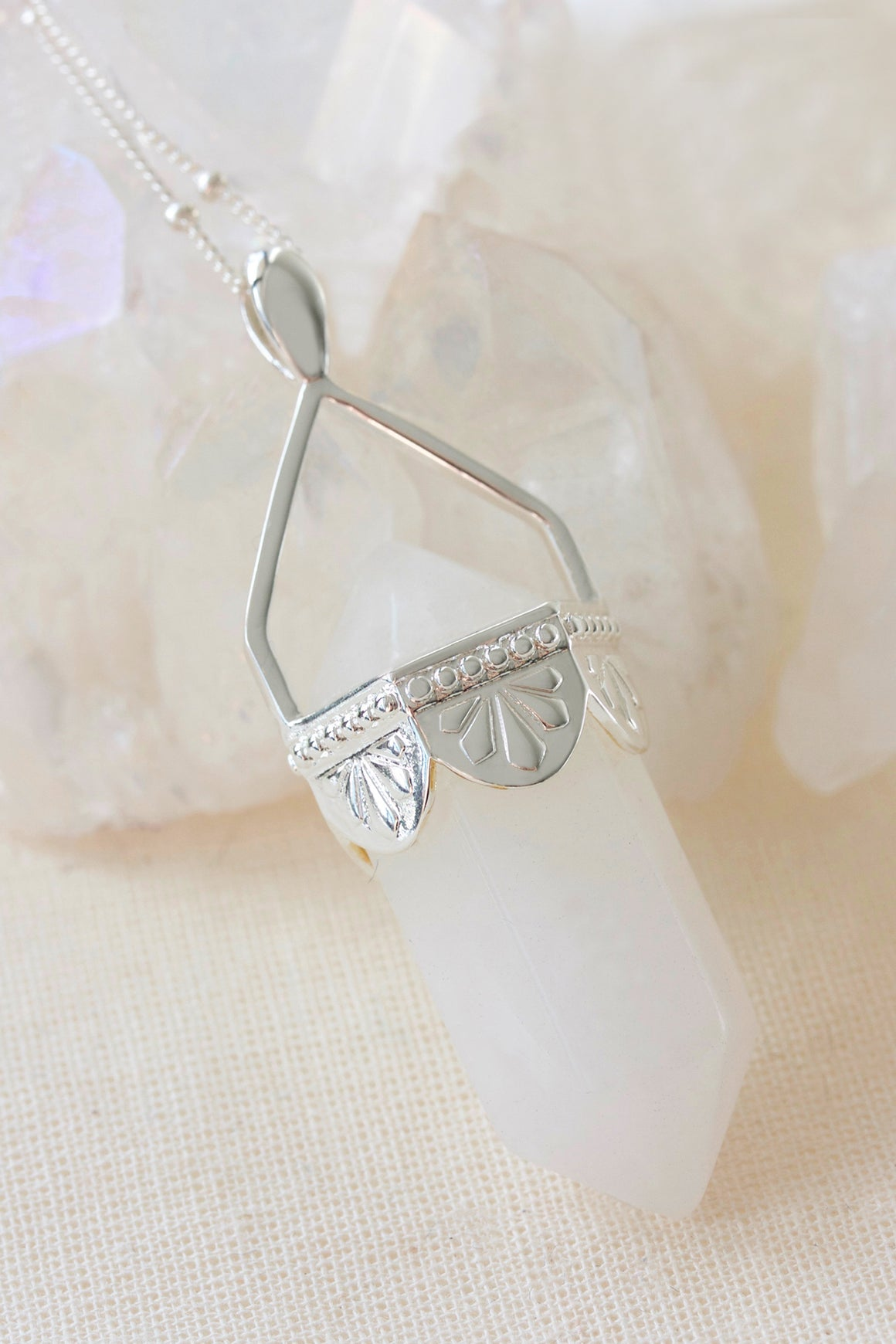Clear Quartz Pendulum Necklace - Silver