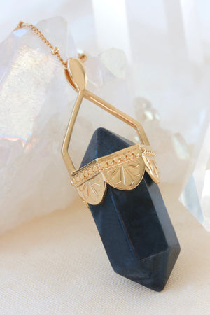 Sodalite Pendulum Necklace - Gold
