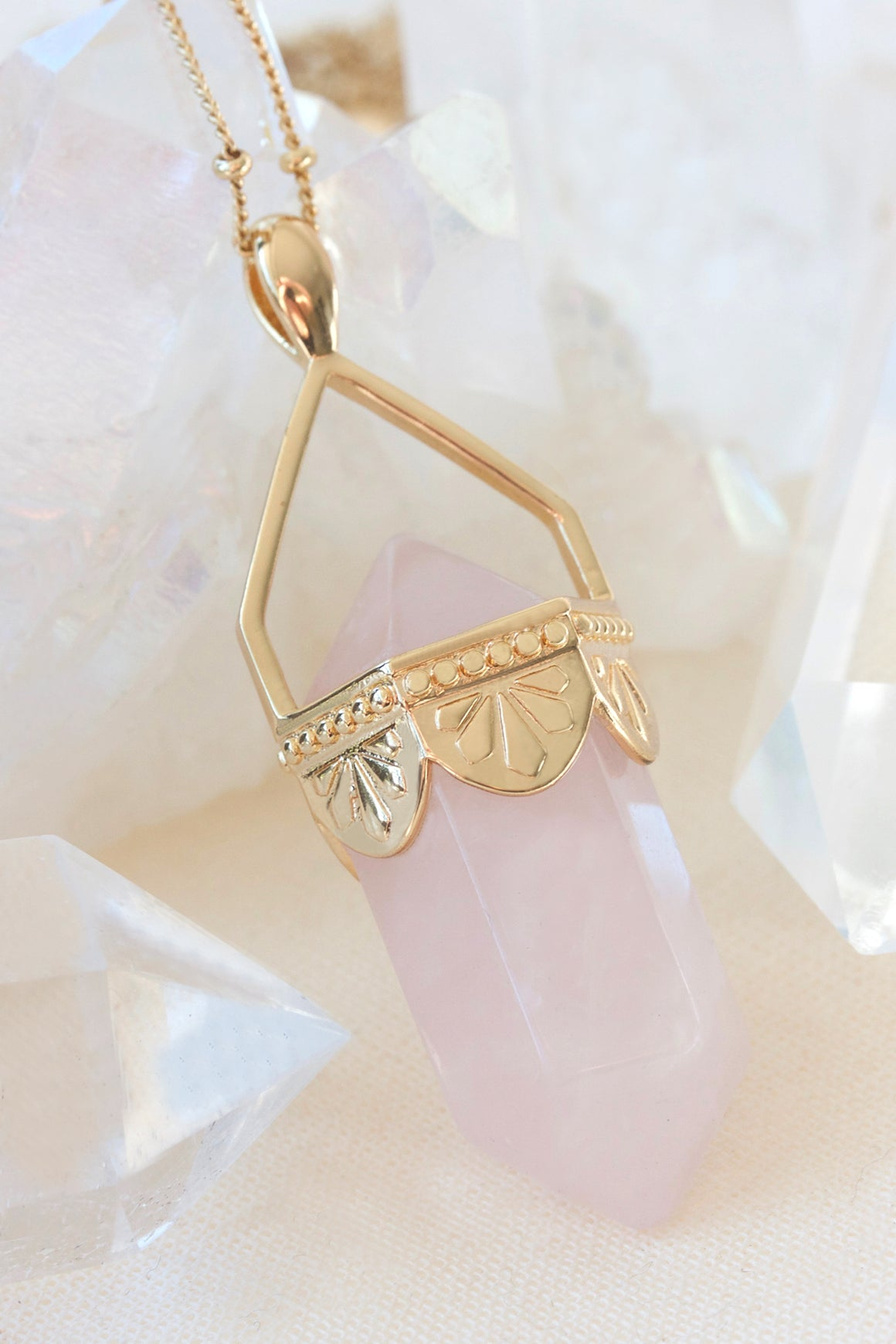 Rose Quartz Pendulum Necklace - Gold