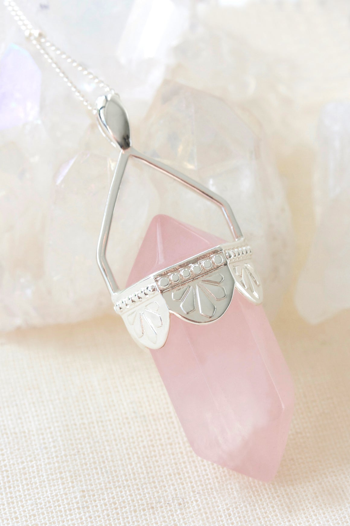 Rose Quartz Pendulum Necklace - Silver