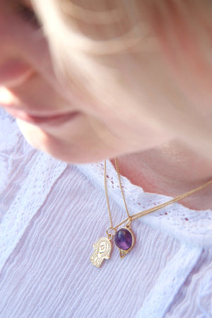 Gold Hamsa Hand Necklace and Purple Amethyst Necklace