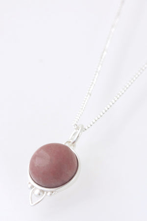 Silver Healing Gemstone Necklace - Rhodonite