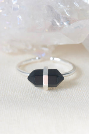 Silver Black Agate adjustable ring