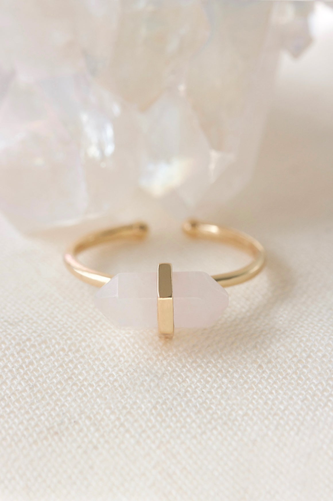 rose quartz crystal ring