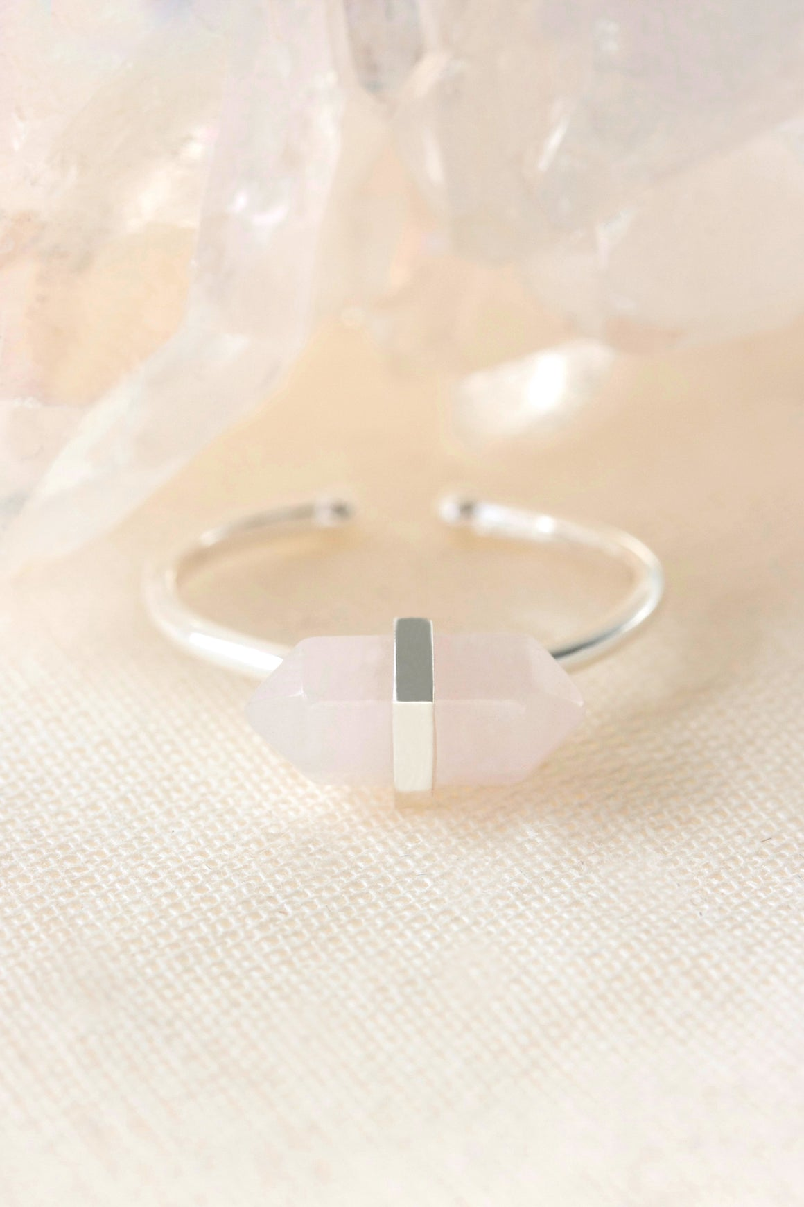 Silver Rose Quartz Intention Ring