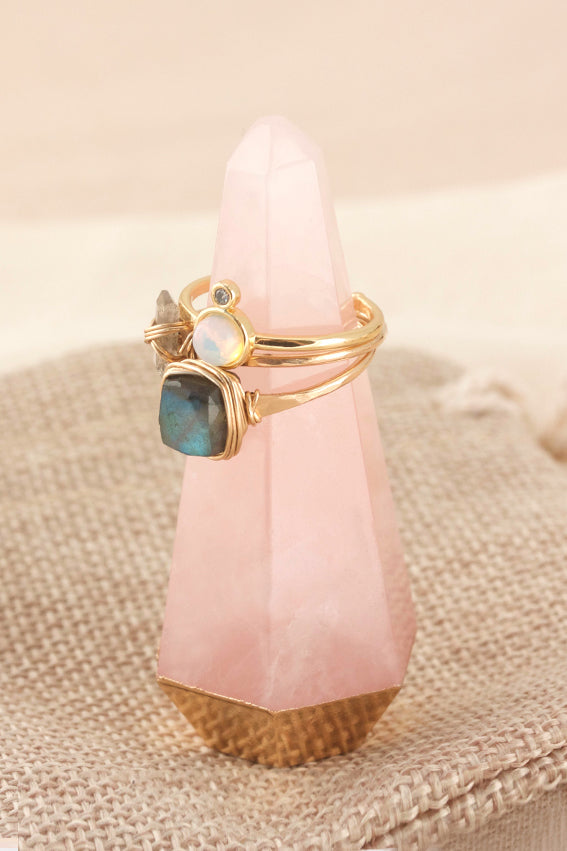 Rose Quartz Gemstone Ring Cone