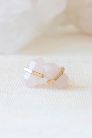 Gold Rose Quartz Intention Studs