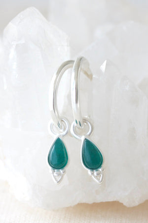 Silver Healing Gemstone Earrings  - Green Agate
