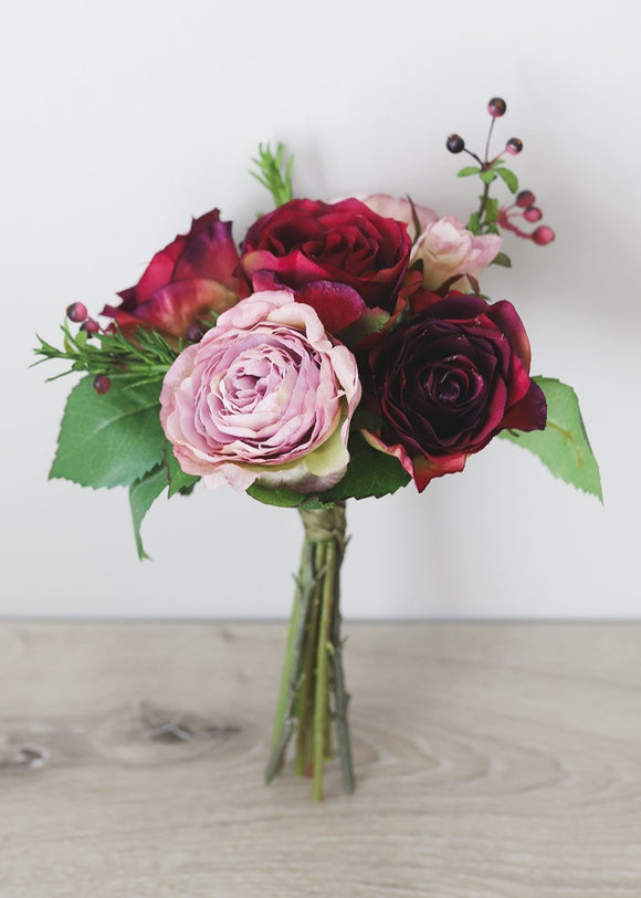 Burgundy Lavender Silk Ranunculus and Rose Bouquet