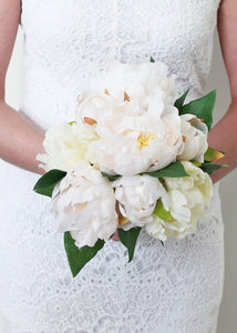 Silk Wedding Bouquet in Peony White and Pastel Pink