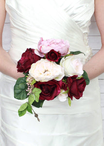 Faux Bridal Bouquet in Burgundy and Mauve