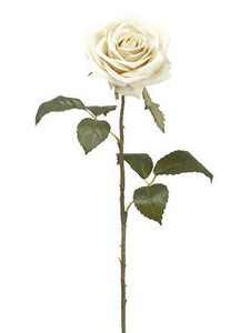 "Artificial Flowers Rose in Eggshell Cream - 21.5"" Tall"