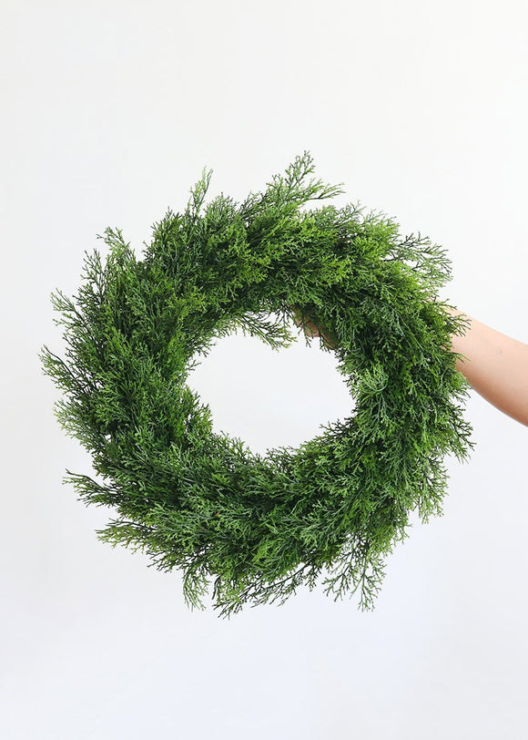 Indoor/Outdoor Fake Cedar Winter Greens Wreath - 17