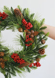 Indoor/Outdoor Fake Pine and Berry Holiday Wreath - 17""