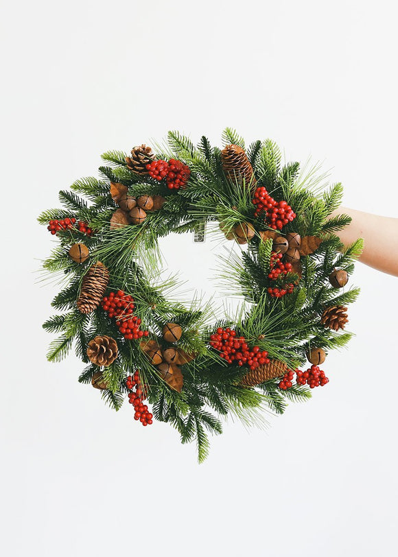 Indoor/Outdoor Fake Pine and Berry Holiday Wreath - 17