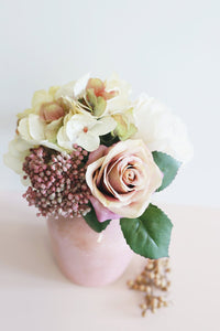 Ivory Pink Silk Peony and Rose Flower Bouquet