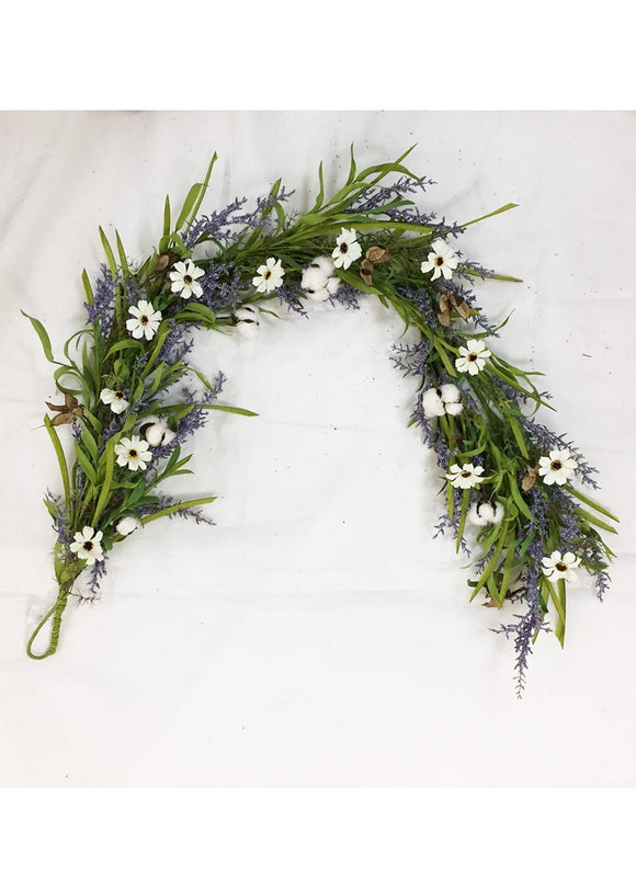 Artificial Cotton and Cosmos Garland in Lavender - 5'