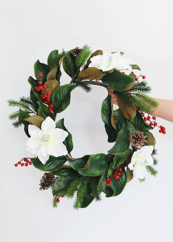 Christmas Magnolia Silk Flower and Leaf Wreath - 21