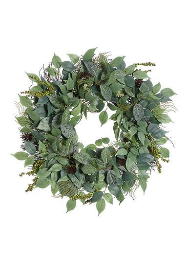 Artificial Royal Ficus Leaf Wreath with Berries - 24