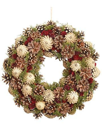 Faux Pine Winter Wreath in Burgundy Brown - 14