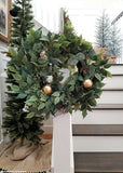 Artificial Royal Ficus Leaf Wreath with Berries - 24""
