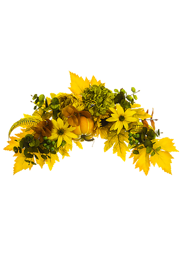 Yellow Sunflower and Peony Fake Fall Flower Swag - 26