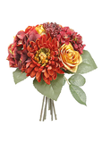 Fake Fall Flower Bouquet of Mum and Roses