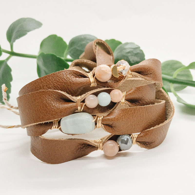 GENUINE LEATHER WRAP | CARAMEL