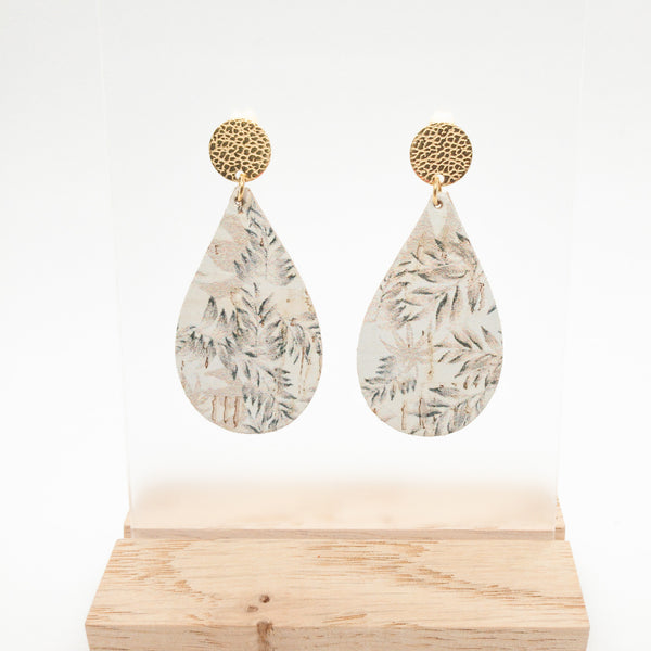 TEAR DROPS CORK EARRINGS | FALLING LEAVES
