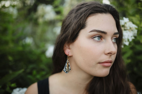 DIAMOND CORK EARRINGS | BLACK FLORAL