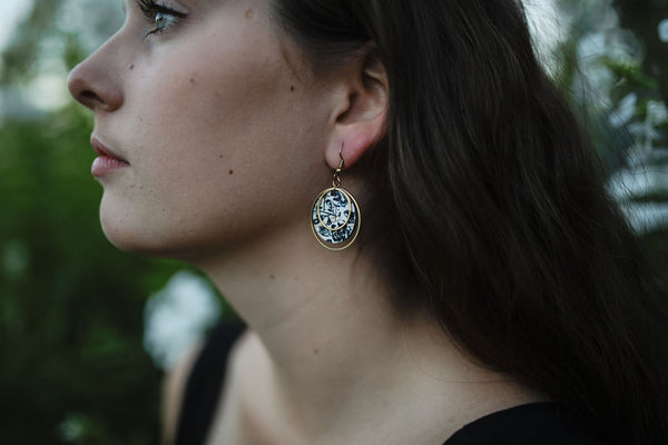 LARGE CIRCLE CORK EARRINGS | BLACK FLORAL