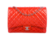 Load image into Gallery viewer, lenvie-de-luxe - Chanel Classic Tangerine Quilted Lambskin Maxi Double Flap bag in Pumpkin - Chanel - Handbags