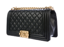 Load image into Gallery viewer, lenvie-de-luxe - Chanel Classic Black Diamond Quilted Leather Medium Boy Bag - Chanel - Handbags