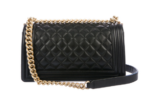 lenvie-de-luxe - Chanel Classic Black Diamond Quilted Leather Medium Boy Bag - Chanel - Handbags