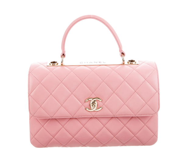 CHANEL 2019 Small Rose Pink Chevron Trendy Top Handle Bag
