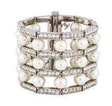 Load image into Gallery viewer, lenvie-de-luxe - CHANEL Faux Pearl & Strass Wide Bracelet - Chanel - Jewelry