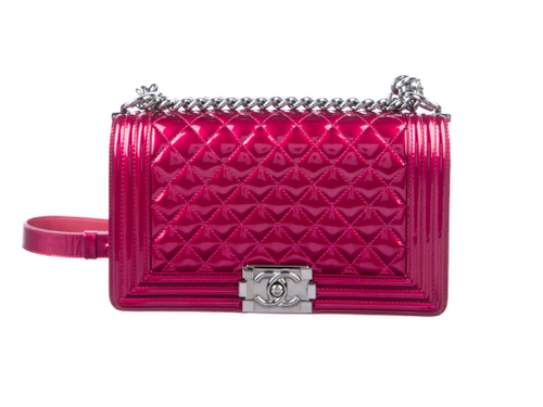 CHANEL Medium Patent Boy Bag in Magenta Metallic Pink