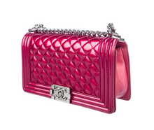 Load image into Gallery viewer, CHANEL Medium Patent Boy Bag in Magenta Metallic Pink