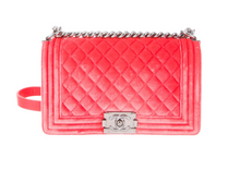 Load image into Gallery viewer, CHANEL Medium Velvet Boy Bag in Coral Pink