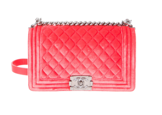 CHANEL Medium Velvet Boy Bag in Coral Pink