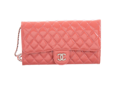 lenvie-de-luxe - CHANEL Classic Patent Leather New Clutch in Coral Pink - Chanel - Handbags