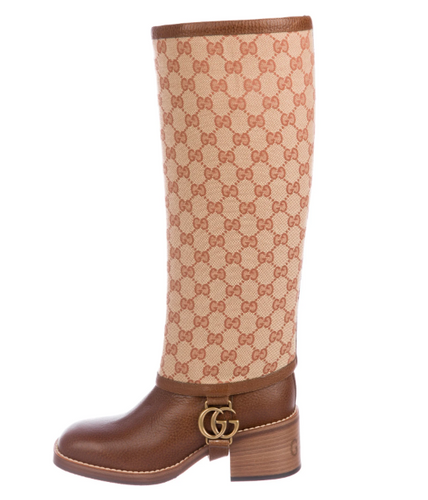 Gucci 2019 Gaiter-Overlay Knee-High Boots - Size 6