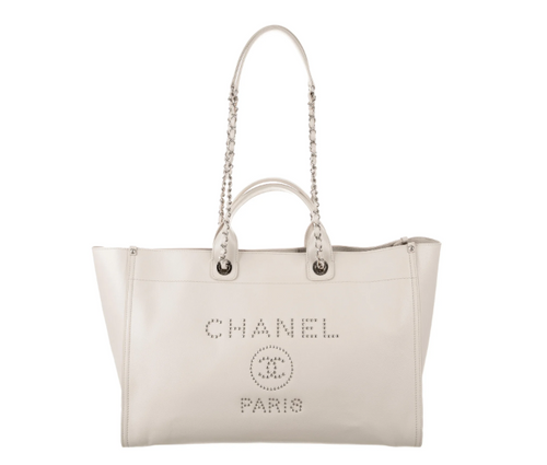 CHANEL Caviar XL Studded Deauville Tote in Creme